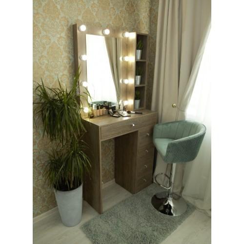Гримерный столик 100х80 с зеркалом и подсветкой 80х60