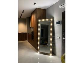 Выполненная работа: гримерное зеркало черное дерево 180х80 с подсветкой 18 ламп (г. Москва)